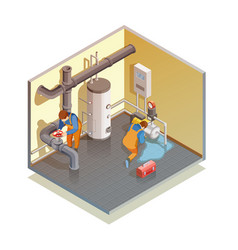 Plumbers boiler leak fixing isometric composition vector