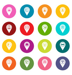 Points interest icons many colors set vector