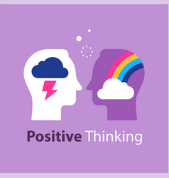 Positive or negative thinking rainbow in head vector