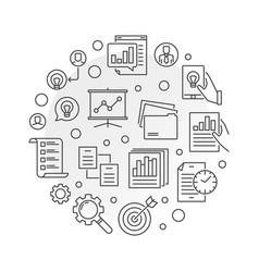 project management planning round line vector image