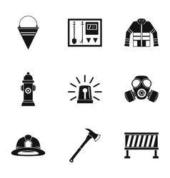 Protection from fire icons set simple style vector