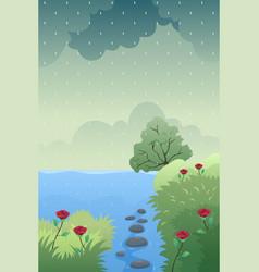 Rain causing flood vector