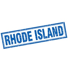 Rhode Island blue square grunge stamp on white vector