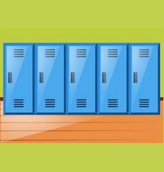 Room with blue lockers vector