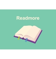rtead more text sign poster with book and text on vector image