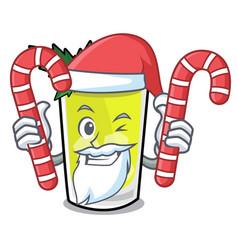 Santa with candy mint julep mascot cartoon vector