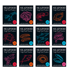 seafood product poster set vector image