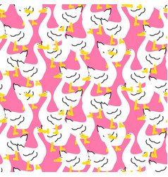 seamless pattern with a cute goose cartoon bird vector image