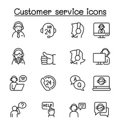 Set customer service related line icons vector