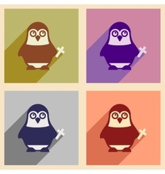 Set of flat icons with long shadow penguin cartoon vector