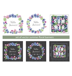 Set of Floral Summer Greeting Cards Design vector
