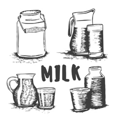 set of hand drawn milk glass sketch vector image