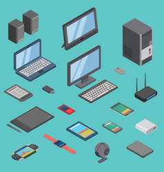 Set of isometric computer gadget devices vector