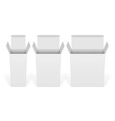 set white cardboard boxes mockups vector image