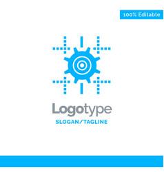 setting gear computing line blue business logo vector image