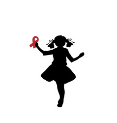 silhouette girl with red ribbon in her hand vector image
