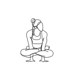 Sketch woman in joga pose silhouette on white vector