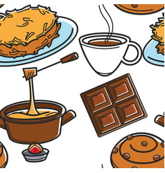 Swiss cuisine traditional food and drink seamless vector
