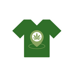 t-shirt with marijuana leaf store location icon vector image