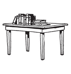 Table with books furniture vintage engraving vector