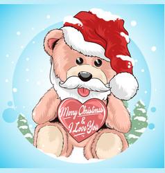 Teddy bear santa claus with christmas hat artwork vector
