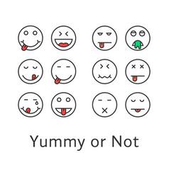 Thin line yummy emoji icons vector