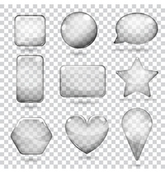 Transparent gray glass shapes vector