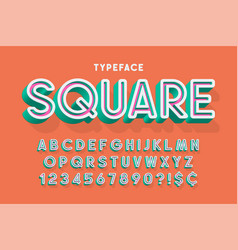 trendy 3d font design colorful alphabet typeface vector image