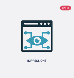 Two color impressions icon from technology vector