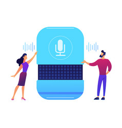 Users giving voice commands to smart speaker vector