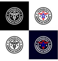veteran days flat badge logo army emblem vector image
