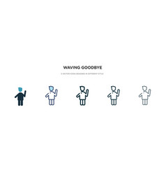 Waving goodbye icon in different style two vector