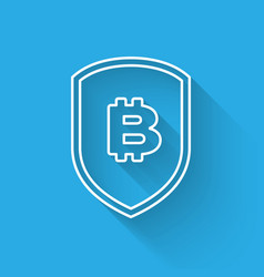 White shield with bitcoin line icon isolated with vector