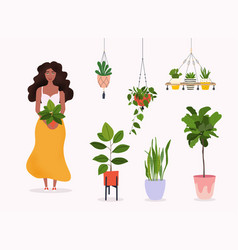 Woman holds a plant in pot set macrame hangers vector