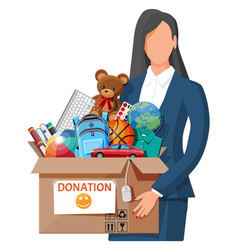 woman with donation box vector image