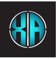 Xa logo initial with circle line cut design vector