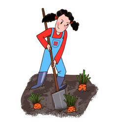 young girl shovel digs carrot vector image