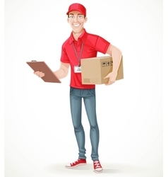 Young man courier delivery services of holding a vector