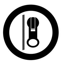 Zipper icon black color in circle vector