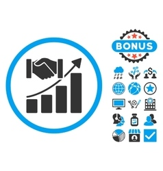 Acquisition Growth Flat Icon with Bonus vector image vector image