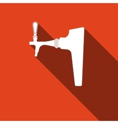 Beer tap icon with long shadow vector