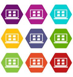 desktop icon set color hexahedron vector image vector image