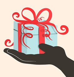 Gift Box - Present in Hand - Retro vector image vector image