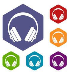 headphone icons set hexagon vector image vector image