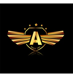 Letter A winged crests logo Alphabet logotype vector image vector image