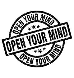 Open your mind round grunge black stamp vector