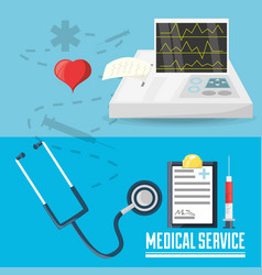 stethoscope with medical prescription and cardiac vector image vector image