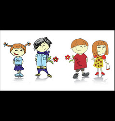 two couples cartoon vector image vector image