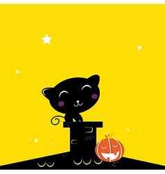 black halloween cat silhouette on the night roof vector image