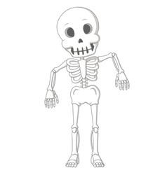 cartoon funny human skeleton dance vector image